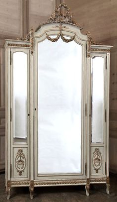 Stunning Grand Louis XVI Triple Armoire   Antique Formal Armoires   Inessa Stewart's Antiques  #antique #french #armoire