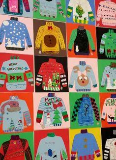 Kunstzimmer von Frau Pearce: Kunst der Klasse Art room of Ms. Pearce: Art of the class Christmas Art Projects, Winter Art Projects, Christmas Crafts, Christmas Trees, Classe D'art, 4th Grade Art, Fourth Grade, Grade 3, Scratch Art