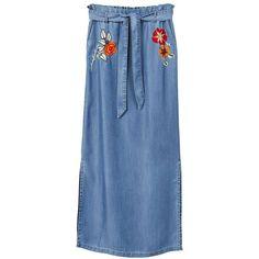 Embroidered Denim Skirt (£30) ❤ liked on Polyvore featuring skirts, dark blue, bow skirt, blue denim skirt, denim skirt, knee length denim skirt and dark blue denim skirt