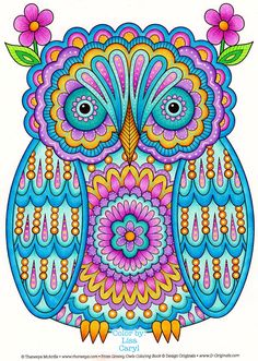 Owl coloring page from Thaneeya McArdle's Groovy Owls Coloring Book, colored by Lisa Caryl https://www.amazon.com/Groovy-Owls-Coloring-Book-Fun/dp/1497202078/ref=as_li_ss_tl?s=books&ie=UTF8&qid=1489428625&sr=1-4&linkCode=ll1&tag=arisfu-20&linkId=62a0c1141587071d21409c152861e4a4