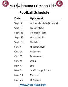 Printable 2017 Alabama Crimson Tide Football Schedule