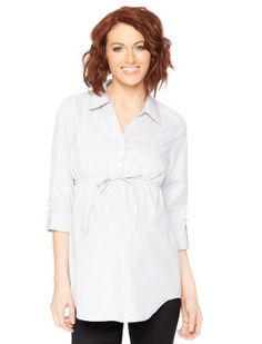 71fc7a78199c4 Convertible Sleeve Tie Front Maternity Tunic Maternity Tunic, Maternity  Fashion, Mandarin Collar, Collar