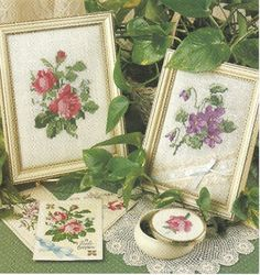 DIGITAL PATTERN  Violets and Roses Embroidery Cross Stitch Needlepoint Pattern