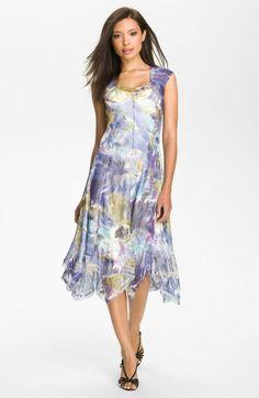 handkerchief+dresses | Komarov Cap Sleeve Handkerchief Hem Chiffon Dress in Blue (cobalt ...