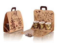Designed by Quantum Graphics (Russia) to present agency at the Interpack 2011 Exhibition (as a part of Pan-European Branding and Design association - PDA). The die-line was provided by German package manufacturer STI. The set of packages includes 3 items: coffee aroma pack, dispencer for coffee-pods, paper bag to carry 3 coffee cups.
