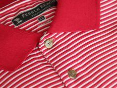 Men Size XL Pebble Beach Performance Polo Golf Shirt Red SS Stripes MINT #PebbleBeachPerformance #PoloRugby