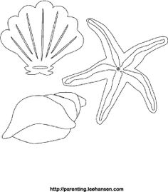 sea shells coloring page/  These can be painted with water colors
