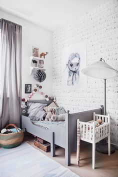A grey kids bedroom plenty of charm! Tiny Little Pads www.tinylittlepads The post Vintage Grey Kids Room appeared first on Children's Room. Ikea Sundvik, Deco Kids, Kids Room Design, Little Girl Rooms, Kid Spaces, Space Kids, Modern Room, Modern Kids, Kids Decor