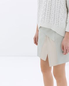 TWO-TONE FAUX LEATHER MINISKIRT from Zara