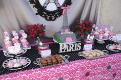 Paris Inspired Party Dessert Table