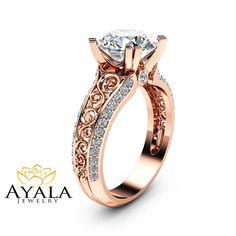 2CT Moissanite Engagement Ring Handmade 14K Rose by AyalaDiamonds
