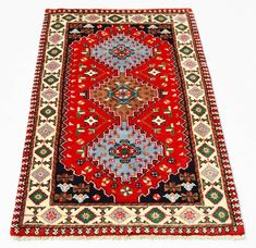 2 X 4 Hand Knotted Geometric Designed Red Color New Area Rug for living rooms