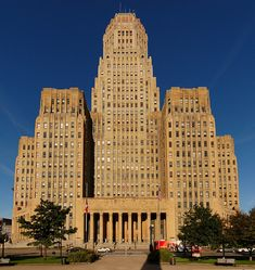 Buffalo has beautiful buildings of all styles, including multiple works by Frank Lloyd Wright, Louis Sullivan's ornate Guaranty Building, Eliel and Eero Saarinen's Kleinhans Music Hall, a system of parks and parkways by Frederick Law Olmsted, and the birthplace of the American Arts & Crafts Movement, the Roycroft Inn and Campus.    This is a photo of Buffalo's CIty Hall, in the heart of downtown Buffalo.  #pinyourcity