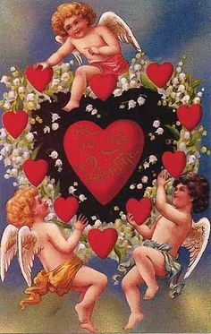 THREE ANGELS AND A BUNCH OF LITTLE RED HEARTS AND ONE BIG RED HEART.