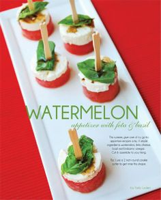 4 simple ingredients: Watermelon, fetta cheese, basil and balsamic vinegar. Cut and assemble to your liking. Tip: use a 2 inch round cookie cutter to create this shape.