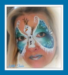 This is beautiful - Olaf and icicles - Frozen - www.sillyfarm.com Face Painting Designs, Body Painting, Olaf, Frozen Face Paint, Mask Face Paint, Christmas Face Painting, Snowman Faces, Facial, Maquillage Halloween