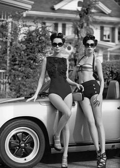 Fun retro bathing suits.  However, I would slap that bitch for having her heel on that Porsche! Porsche #porsche and #cargirl