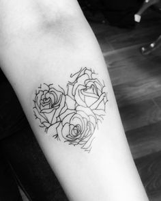 My third tattoo: three roses heart