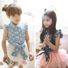 Summer baby girl lovely  Children's Fashion soft  heart Denim Boats sleeve Shirt to fly shoulder sleeveless denim shirt(China (Mainland))