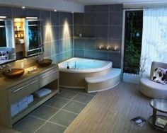 nice corner bath with step - space in bathroom created by halfhalf tiling modern-spa-bathroom-design-ideas-4-300x239.jpg (300×239)
