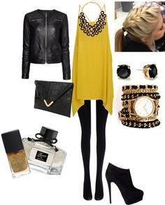 """""""Leather and Gold"""" by mariaandre on Polyvore"""