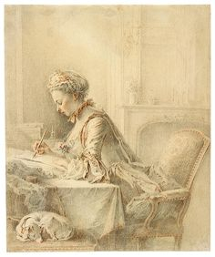 Jacques-André Portail (1695–1759) - Lady Sketching at a Table