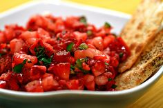 Low FODMAP strawberry salsa  Ingredients:  2 medium tomatoes, chopped ½ cup strawberries, chopped ¼ red bell pepper, chopped ¼ green bell pepper, 1 tsp. casa de sante Mexican seasoning, 1 tsp. salt, hot pepper of your choice, chips  Directions:  Mix ingredients and serve.