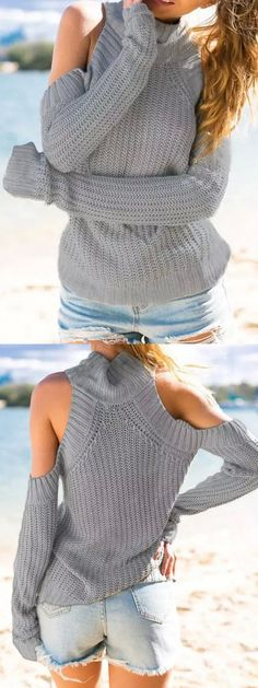 Gray High Neck Cold Shoulder Long Sleeve Sweater, im not usually ok with my shoulders but for this sweater id make an exception!