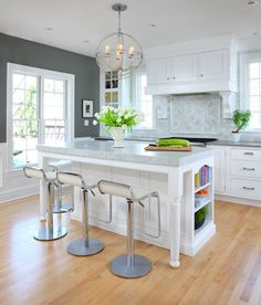 I like the gray paint with the warm floor.  Soothing White and Gray Kitchen Remodel - traditional - kitchen - chicago - Normandy Remodeling