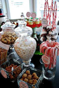 HOT CHOCOLATE BAR CONDIMENTS:   Crushed Chocolate Mint Oreos  German Chocolate Marshmallows  Cookies and Cream candy bars chopped up  Mini Chocolate Chips  Caramel Balls  Pirouette Cookies (two different flavors)  Mini Marshmallows  Gingerbread Marshmallows  Chocolate Dipped Marshmallows on stripey straws  Candy Canes  Whipped Cream