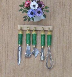 Dolls House Miniature Kitchen Tool Set 5 Piece with Rack | eBay