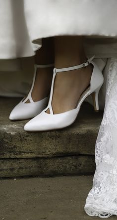 5bddc114bb53 Jaime in pearlescent leather is a pointed toe bridal court shoe with a  slender high heel. The t-bar ankle strap adds style and support with a  little chop ...