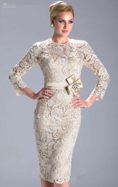 Wholesale 2013 Prom Dresses New Long Sleeve Lace Applique Sheath mather of Bridemaid Dresses knee length 3396, Free shipping, $119.38/Piece | DHgate Mobile