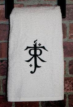 JRR Tolkien inspired bathroom hand towel housewares Hobbit LOTR lord of the rings fantasy elven geek nerd film home decor wedding gift ideas...