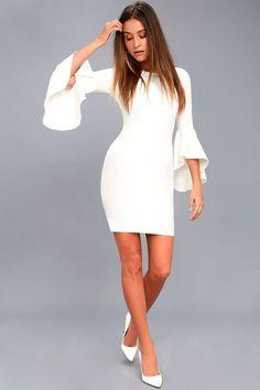 white summer engagement dress bodycon - engagement outfits Robe Bodycon, White Lace Bodycon Dress, Cute White Dress, Lace Midi Dress, White Jumpsuit, Skater Dress, Sheath Dress, White Dresses For Women, Little White Dresses