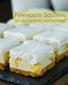 Pineapple Squares - an old no-bake Newfoundland Cookie Bar reinvented! An old time, no-bake Newfoundland Cookie Bar recipe thats been updated with a bit of a reinvention and a new flavour addition. Source by RockRecipes Barres Dessert, Köstliche Desserts, Dessert Recipes, Baking Recipes, Cookie Recipes, No Bake Recipes, Pineapple Squares, Newfoundland Recipes, Pineapple Desserts