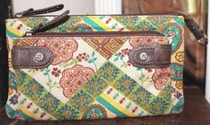 Fossil Relic Patchwork Print Fabric Wallet Purse #Fossil #WristletWallet