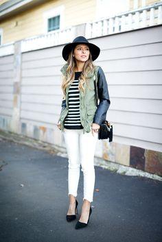 Striped Sweater & Winter White Denim | The Girl from Panama