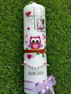 Taufkerze Mädchen mit Foto EULE das Original mit Buchstabenkette TK181 in Pink-Rosa-Flieder Flitter / Schleife Flieder