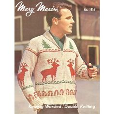 Knit a men's cardigan using Mary Maxim worsted yarn. Knitting Wool, Vintage Knitting, Knitting Sweaters, Men's Sweaters, Matching Christmas Sweaters, Ugly Christmas Sweater, Christmas Knitting Patterns, Sweater Knitting Patterns, Cardigan Pattern