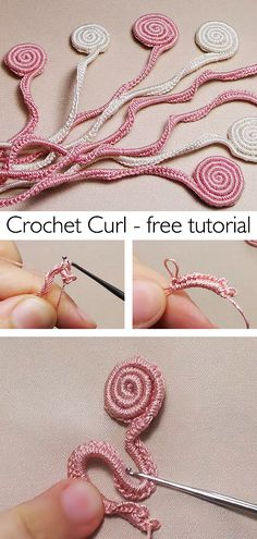 Learn this beautiful curl / spiral crochet technique. Spiral Crochet Pattern, Easy Crochet Patterns, Crochet Stitches, Knitting Patterns, Wiggly Crochet, Free Crochet, Knit Crochet, Crochet World, Crochet Things
