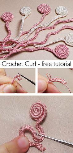 Learn this beautiful curl / spiral crochet technique. Spiral Crochet Pattern, Easy Crochet Patterns, Crochet Motif, Crochet Yarn, Crochet Stitches, Free Crochet, Knitting Patterns, Crochet World, Crochet Things