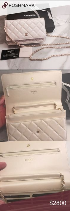 NWT Chanel WOC beautiful Ivory/pearl color gold HW NWT Chanel WOC beautiful Ivory/pearl color gold HW - purchased from Chanel Chicago boutique for a wedding but it was too small for me and all my stuff. Never used. Pristine condition. CHANEL Bags