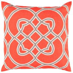 Throw pillow in poppy red with a linked medallion motif. Product: PillowConstruction Material: 90% Polyester and 10% ...