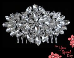 This gorgeous brooch hair comb shines and sparkles beautifully with the amazing marquise cut rhinestone crystals! This will make a perfect addition to Your Special Day. Made of grade A+ crystal rhinestones that catch the light at every angle. This brooch will accent your beautiful hairstyle superbly! $44.99