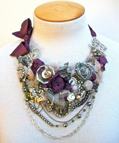 Larkspur and Luster bib necklace with Vintage от WrappedInClover
