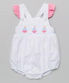 Look what I found on #zulily! White Sailboat Seersucker Smocked Bubble Bodysuit - Infant #zulilyfinds