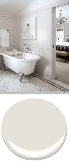Benjamin Moore 'Classic Gray 1548' - Very pale gray with warm undertones #home #bathroom #interior_paint_color