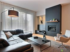 Located on the ground floor and on the floor, modern design condo and cozy . Living Room With Fireplace, Living Room Grey, Interior Design Living Room, Living Room Designs, Living Room Decor, Bedroom Decor, Cozy Living, Small Living, Modern Living