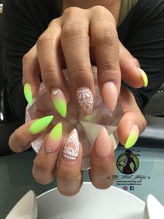 Neon yellow glow in the dark acrylic ombré into nude acrylic, with hand drawn henna inspired nail art.